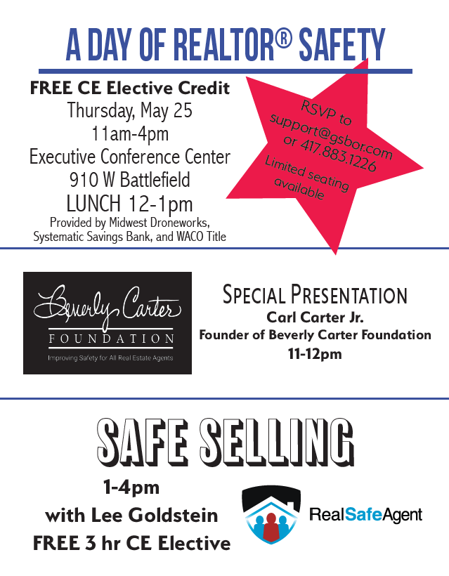 A Day of REALTOR® Safety – May 25th in Springfield